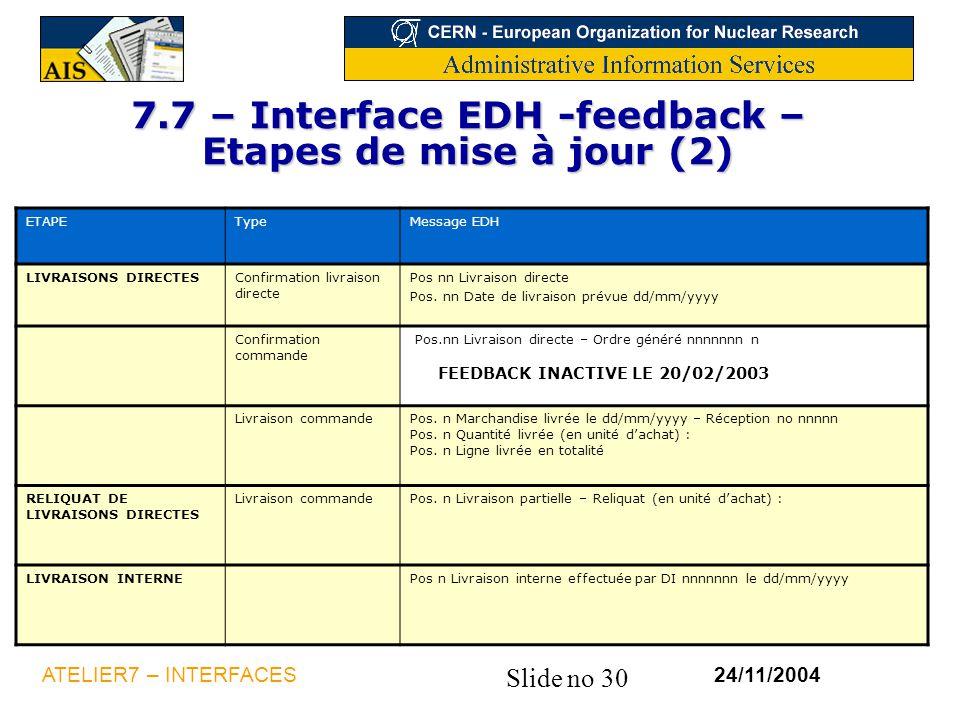7.7 – Interface EDH -feedback – Etapes de mise à jour (2)
