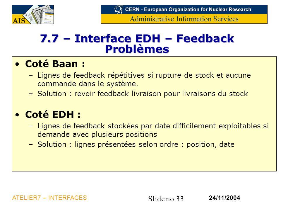 7.7 – Interface EDH – Feedback Problèmes