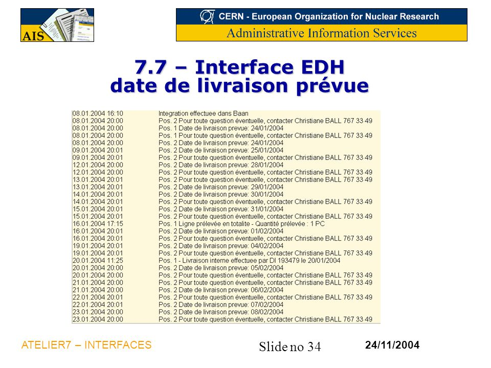 7.7 – Interface EDH date de livraison prévue