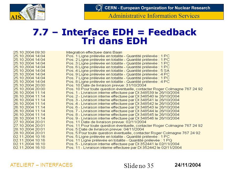 7.7 – Interface EDH = Feedback Tri dans EDH