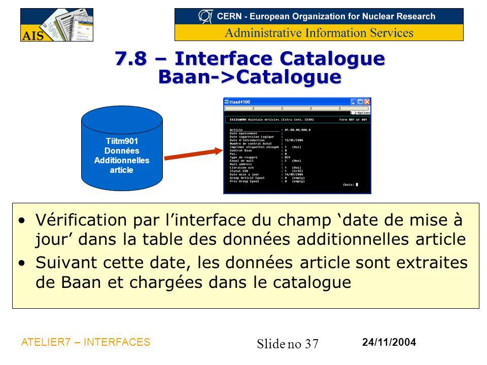 7.8 – Interface Catalogue Baan->Catalogue