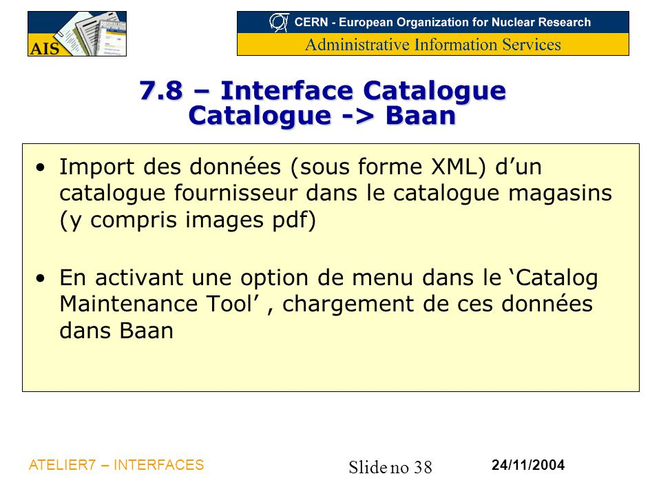 7.8 – Interface Catalogue Catalogue -> Baan