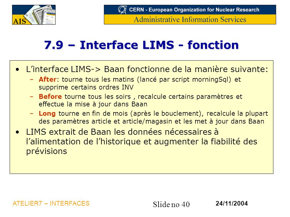 7.9 – Interface LIMS - fonction