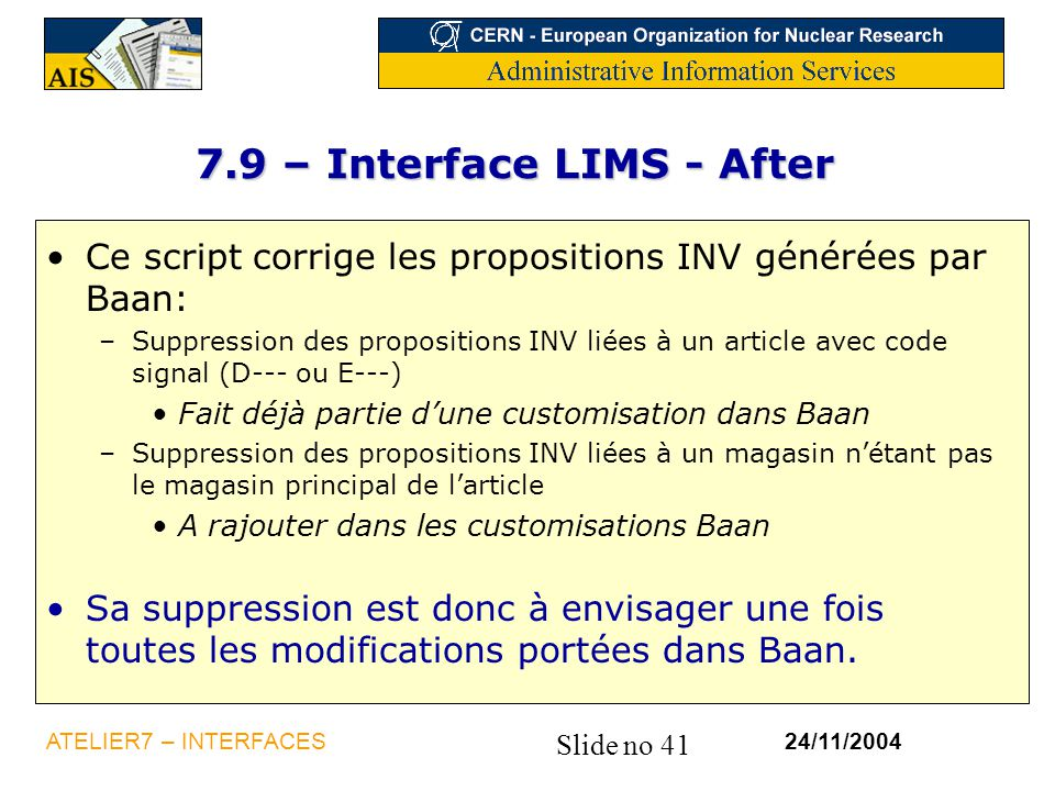 7.9 – Interface LIMS - After