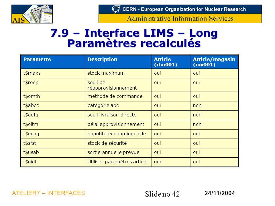 7.9 – Interface LIMS – Long Paramètres recalculés
