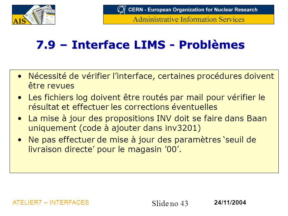 7.9 – Interface LIMS - Problèmes
