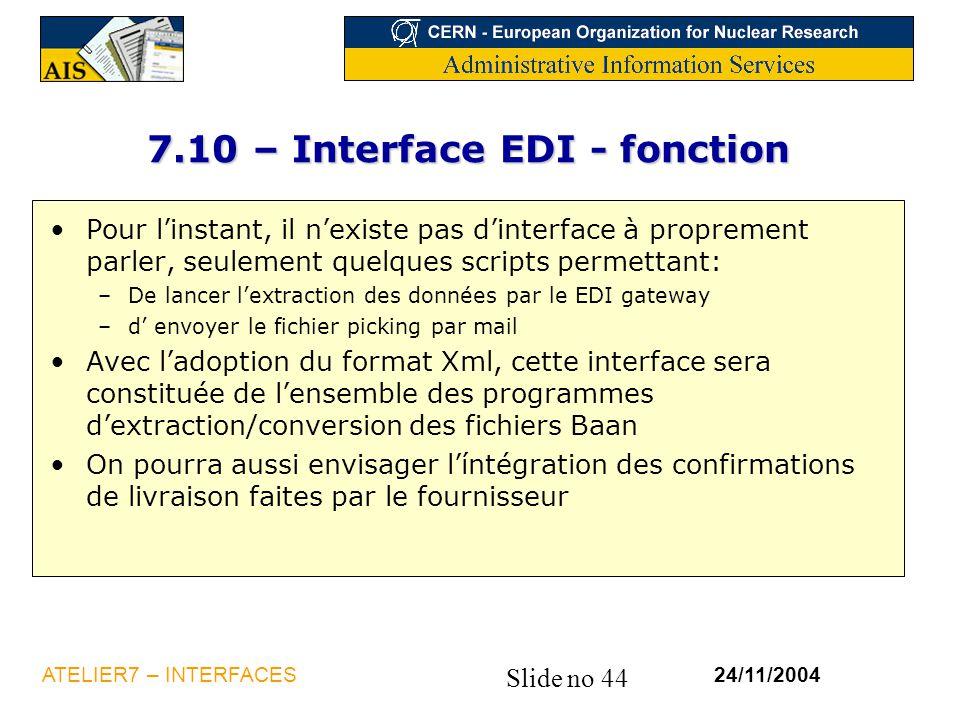 7.10 – Interface EDI - fonction