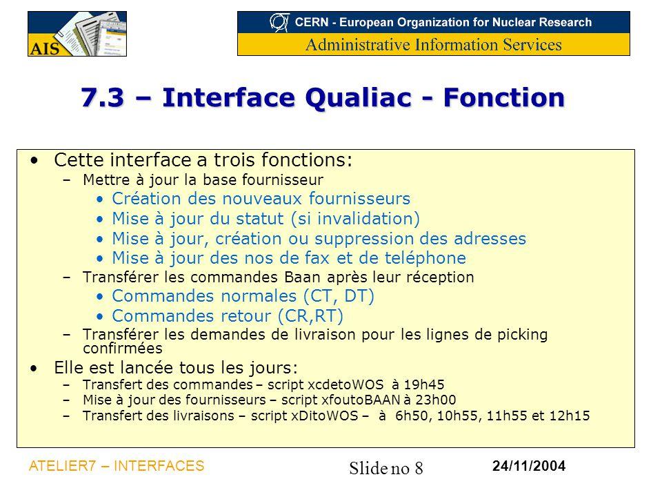 7.3 – Interface Qualiac - Fonction