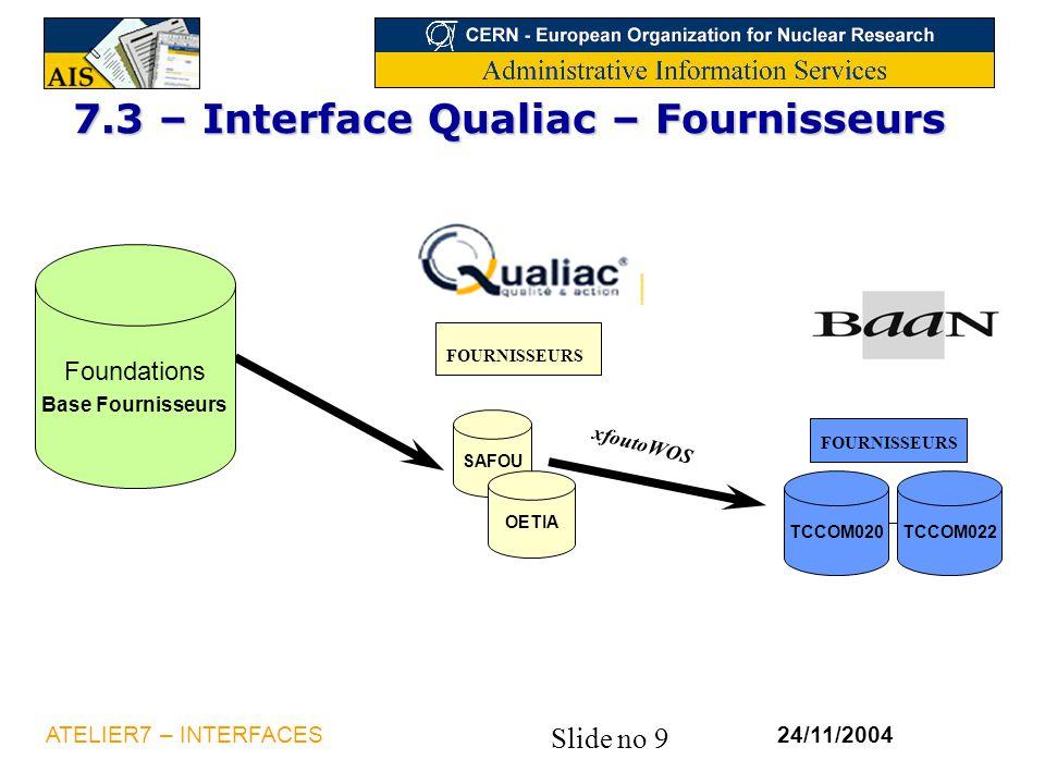 7.3 – Interface Qualiac – Fournisseurs