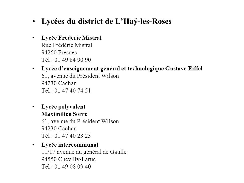 Lycées du district de L'Haÿ-les-Roses