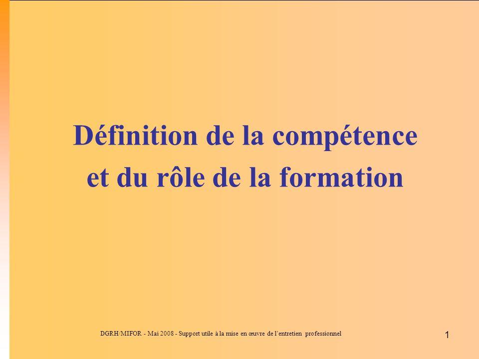 Définition de la compétence et du rôle de la formation