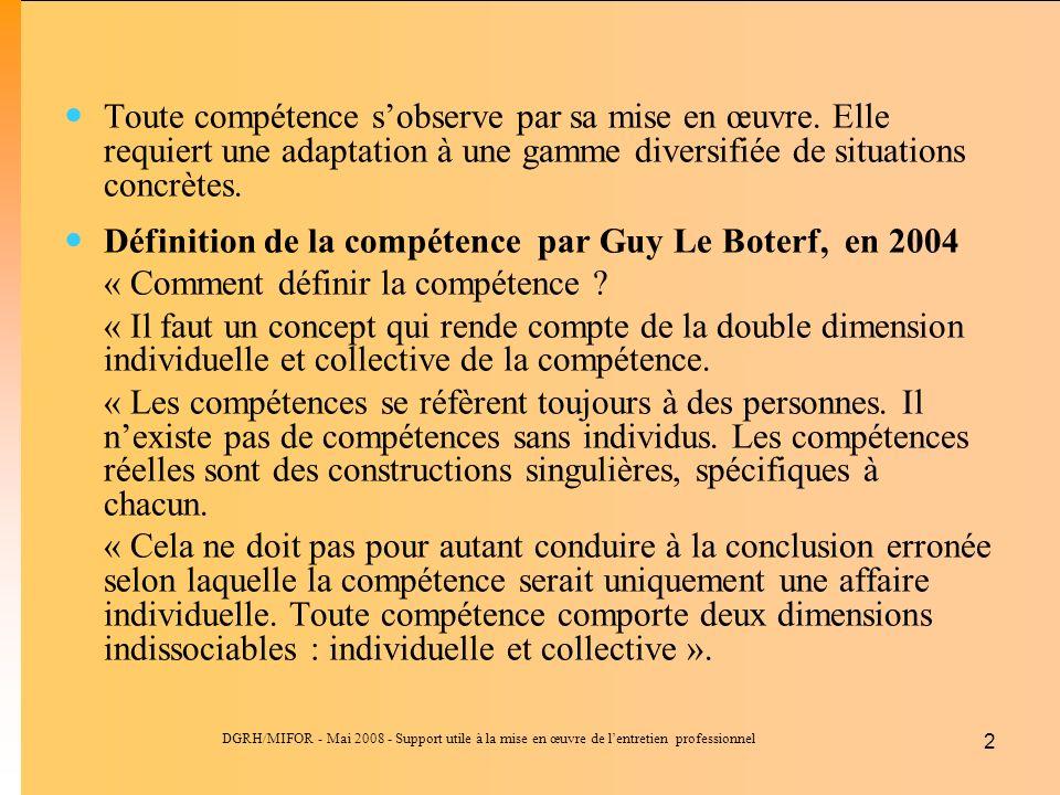 Définition de la compétence par Guy Le Boterf, en 2004