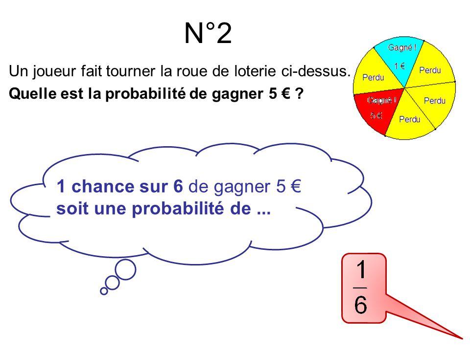 N°3 2 chances sur 6 de gagner Soit une probabilité de ...
