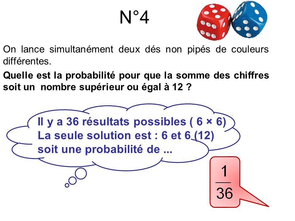 N°5 Il y a 36 résultats possibles ( 6 × 6)