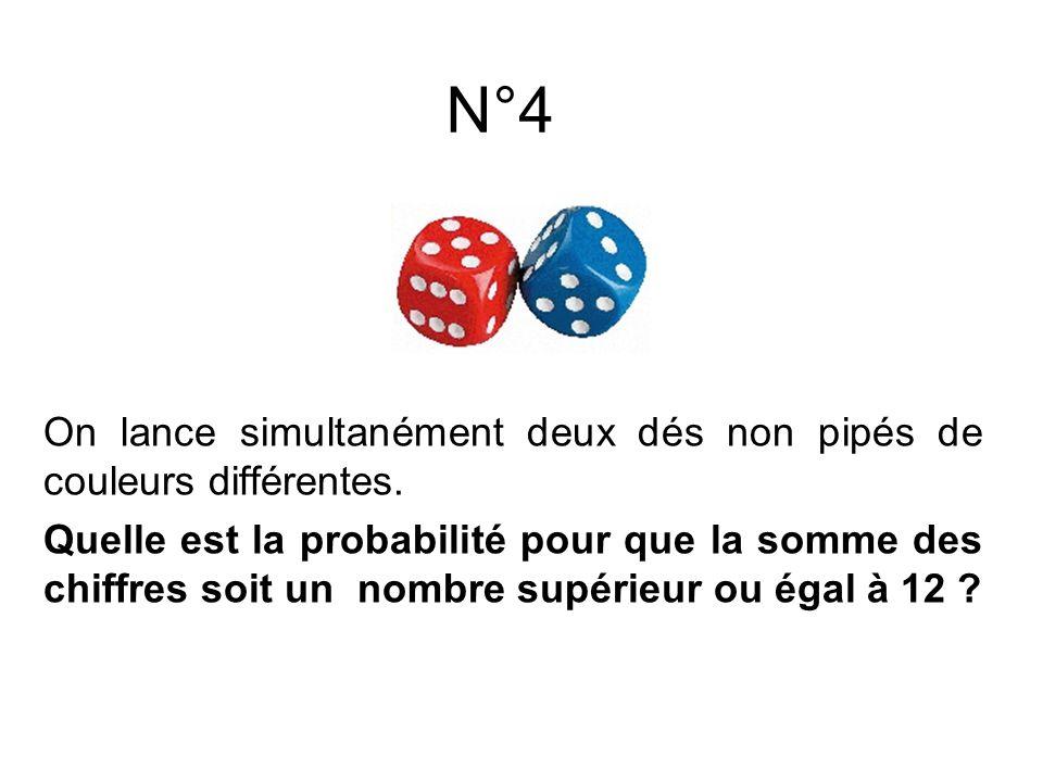 N°5 On lance simultanément deux dés non pipés de couleurs différentes.