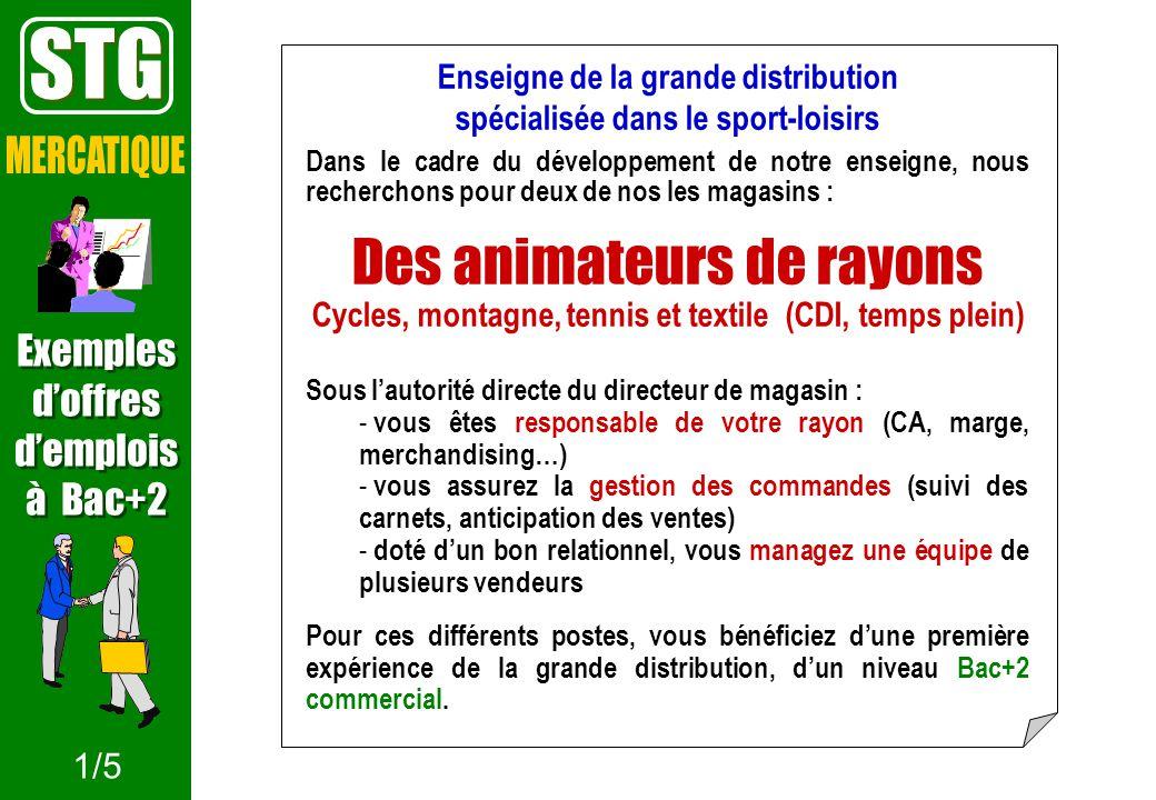 STG Des animateurs de rayons MERCATIQUE Exemples d'offres d'emplois