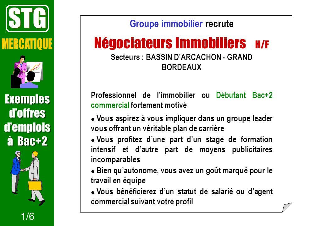 STG MERCATIQUE Négociateurs Immobiliers H/F Exemples d'offres