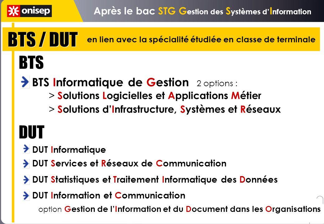 Après le bac STG Gestion des Systèmes d'Information