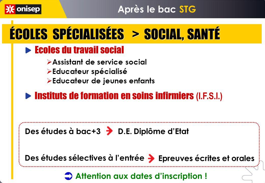ÉCOLES SPÉCIALISÉES > SOCIAL, SANTÉ