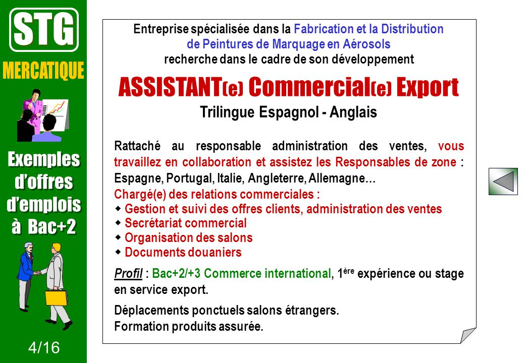 STG ASSISTANT(e) Commercial(e) Export MERCATIQUE Exemples d'offres