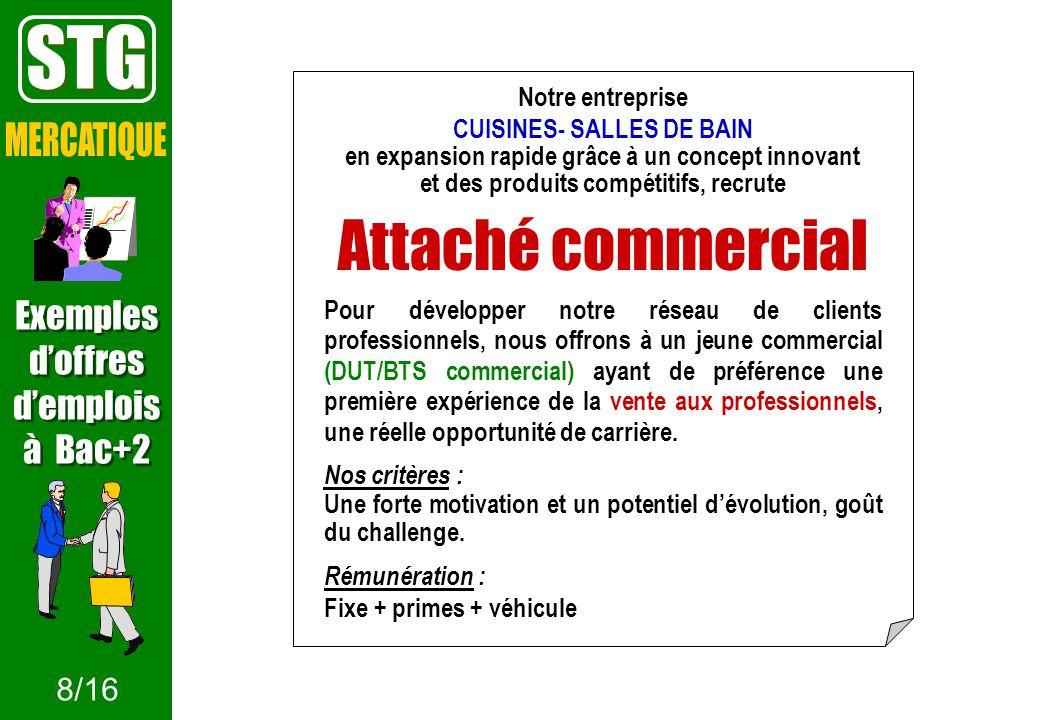 STG Attaché commercial MERCATIQUE Exemples d'offres d'emplois à Bac+2