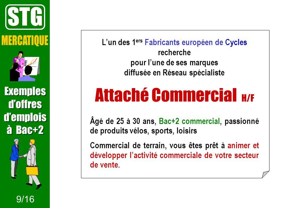 STG Attaché Commercial H/F MERCATIQUE Exemples d'offres d'emplois