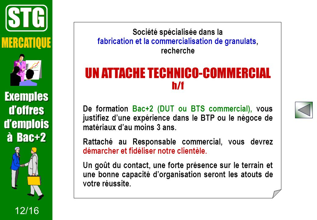 STG MERCATIQUE UN ATTACHE TECHNICO-COMMERCIAL h/f Exemples d'offres