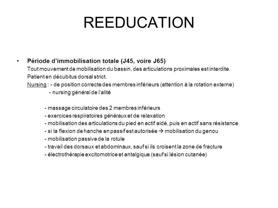 REEDUCATION Période d'immobilisation totale (J45, voire J65)