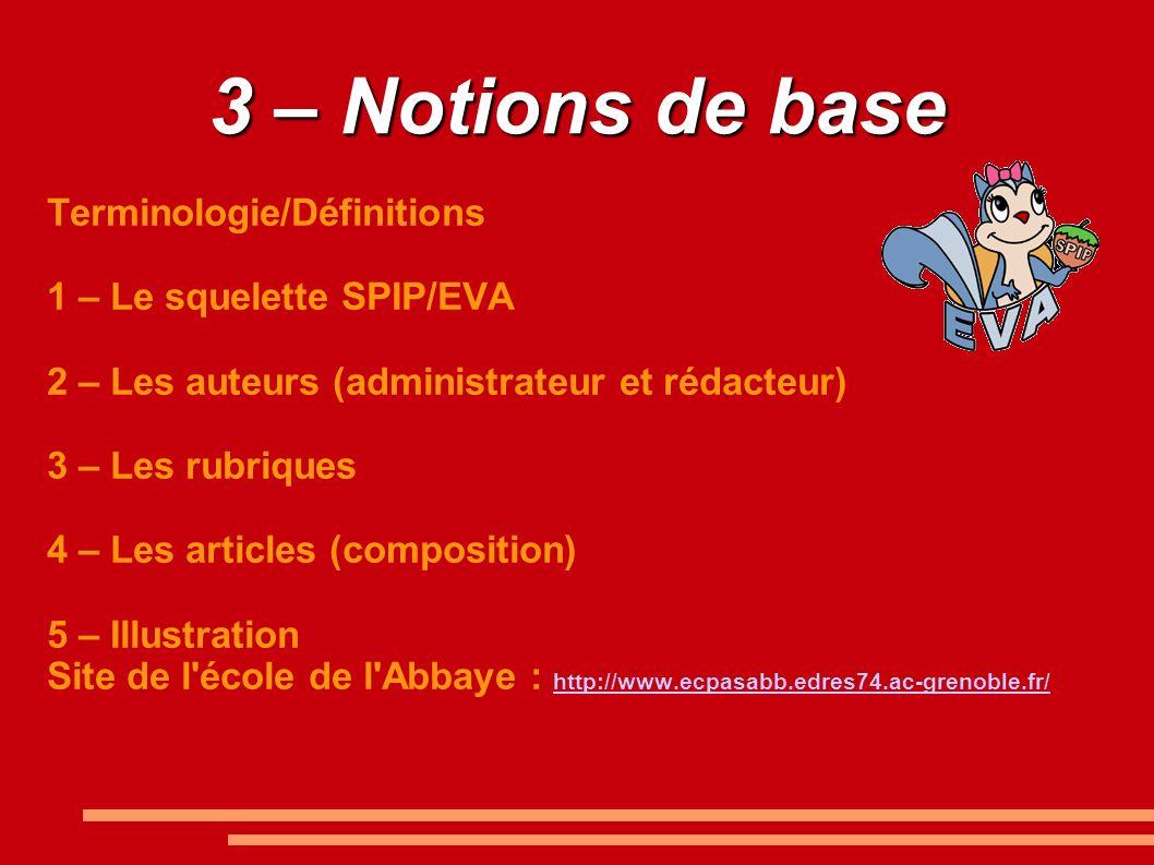 3 – Notions de base Terminologie/Définitions 1 – Le squelette SPIP/EVA