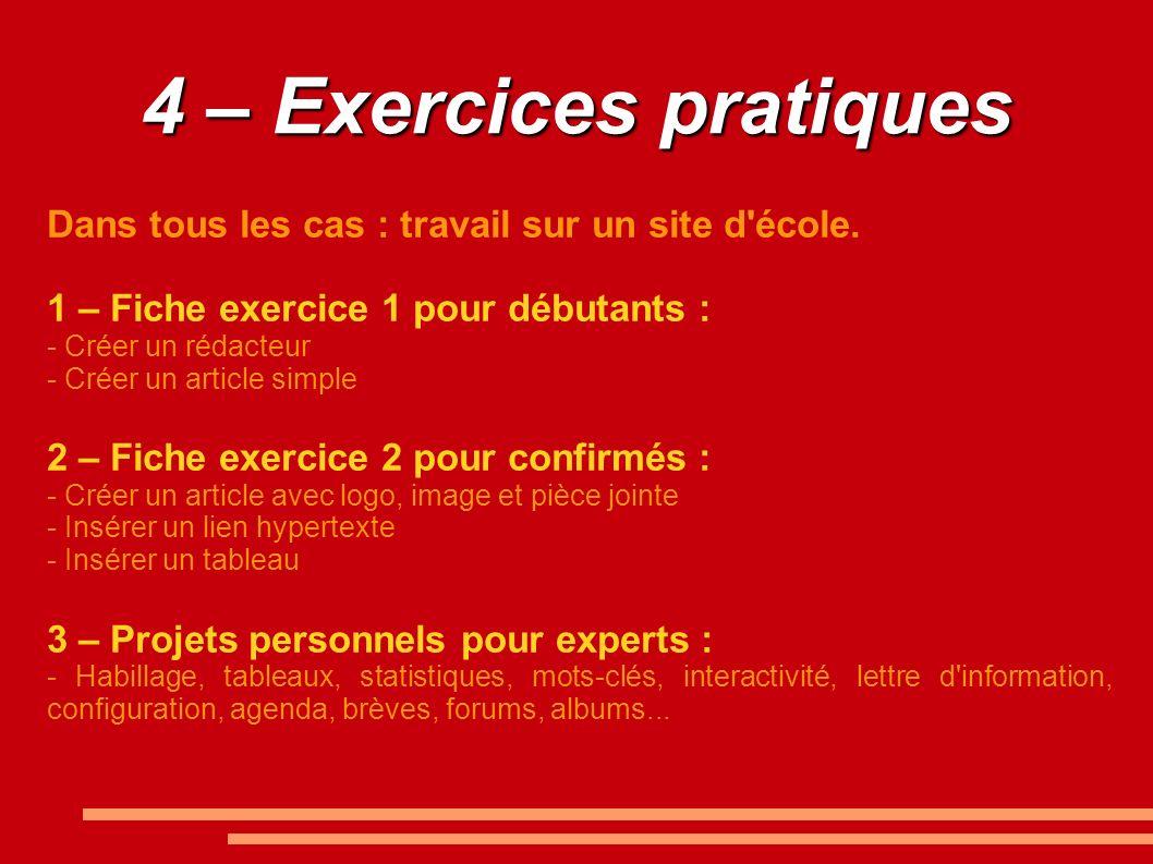4 – Exercices pratiquesDans tous les cas : travail sur un site d école. 1 – Fiche exercice 1 pour débutants :