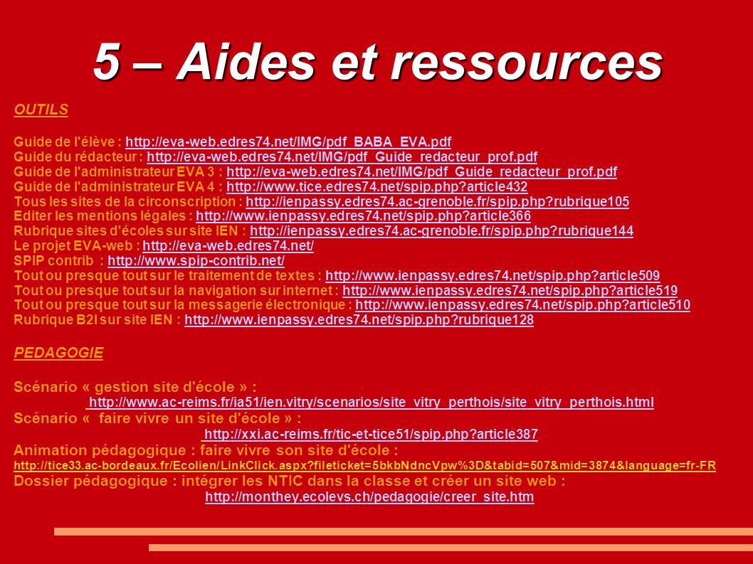 5 – Aides et ressources OUTILS PEDAGOGIE