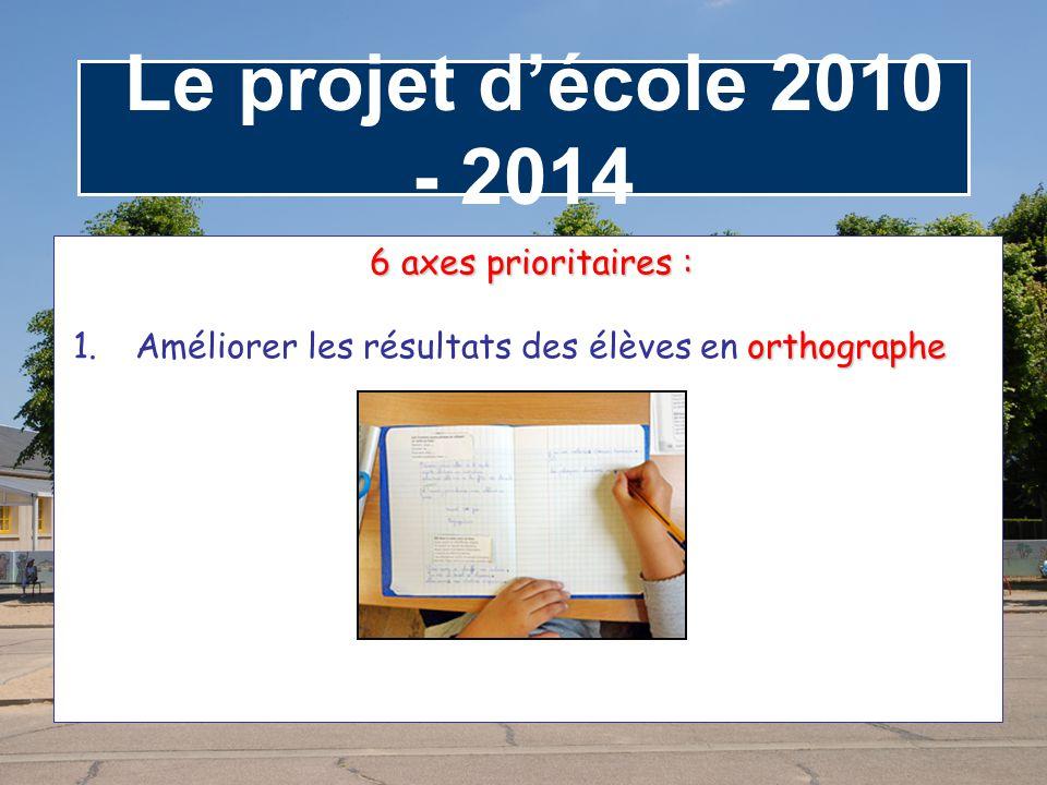 Le projet d'école 2010 - 2014 6 axes prioritaires :