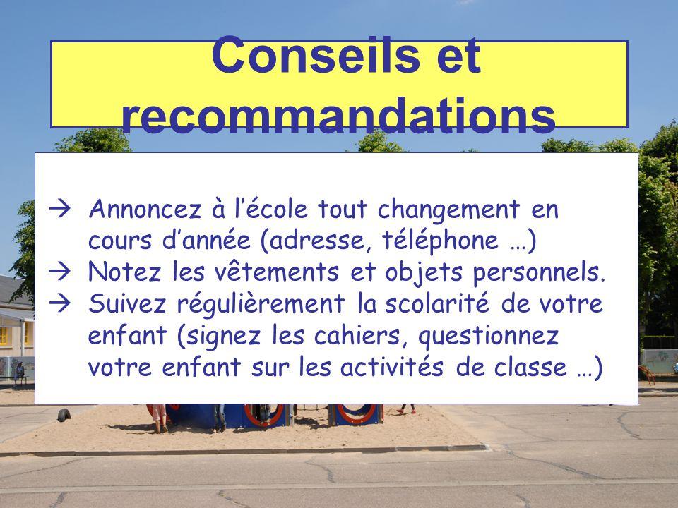 Conseils et recommandations