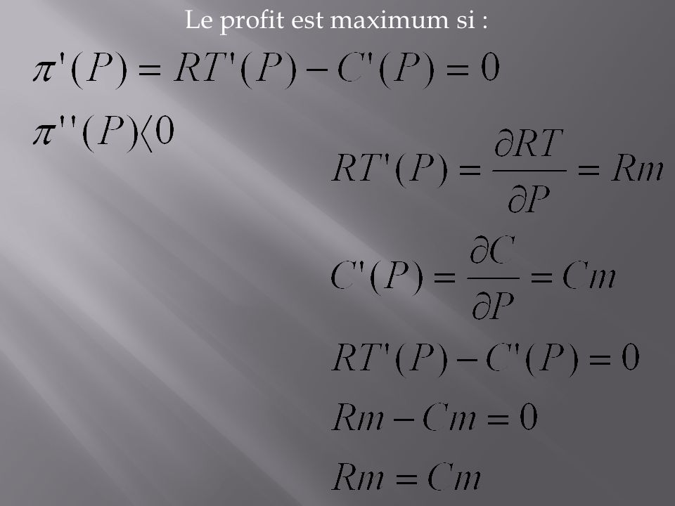 Le profit est maximum si :