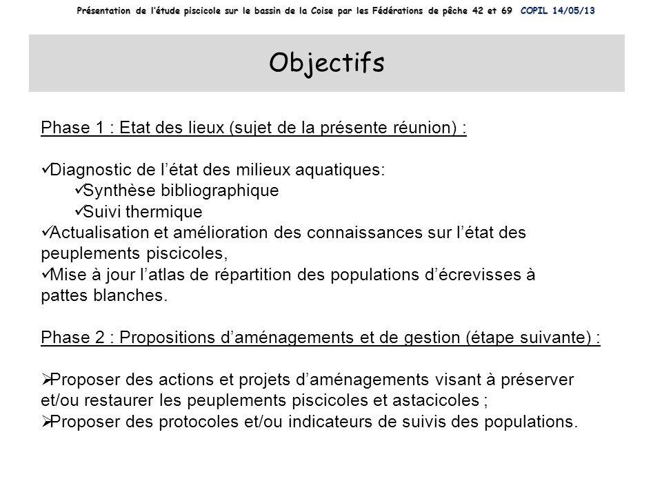 Objectifs Phase 1 : Etat des lieux (sujet de la présente réunion) :