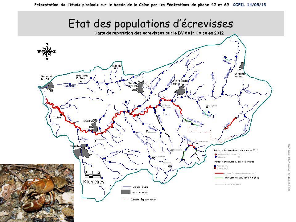 Etat des populations d'écrevisses