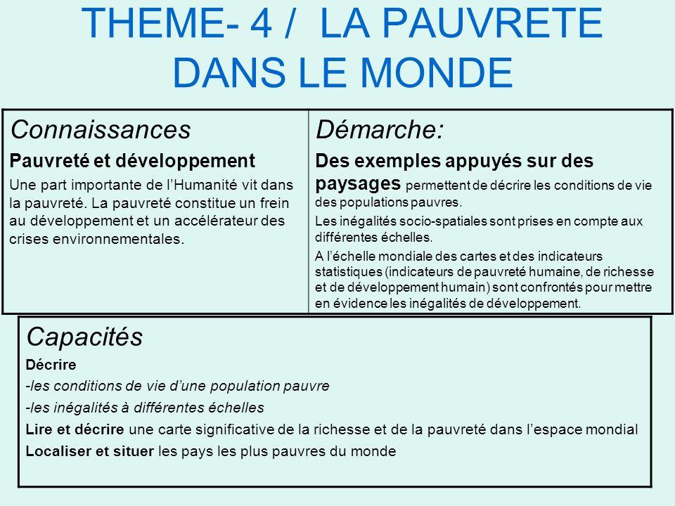 THEME- 4 / LA PAUVRETE DANS LE MONDE