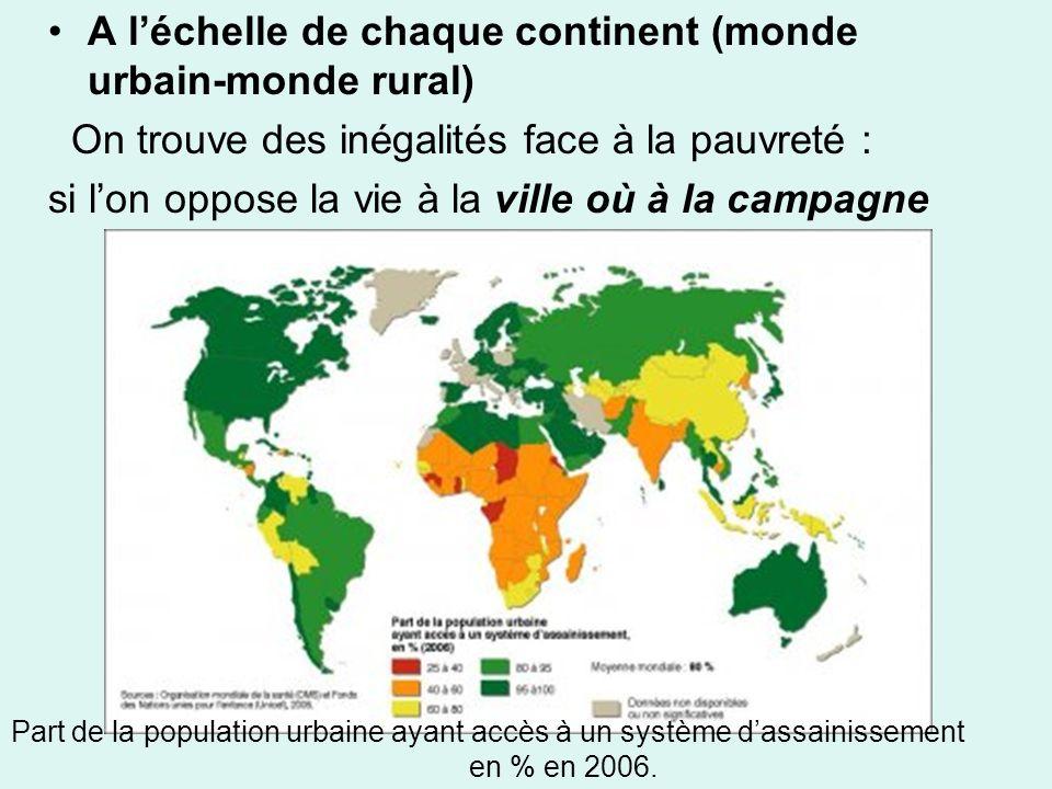 A l'échelle de chaque continent (monde urbain-monde rural)
