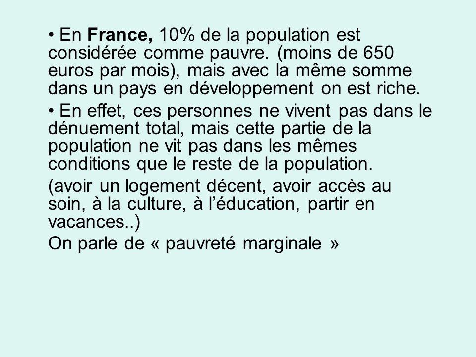 En France, 10% de la population est considérée comme pauvre