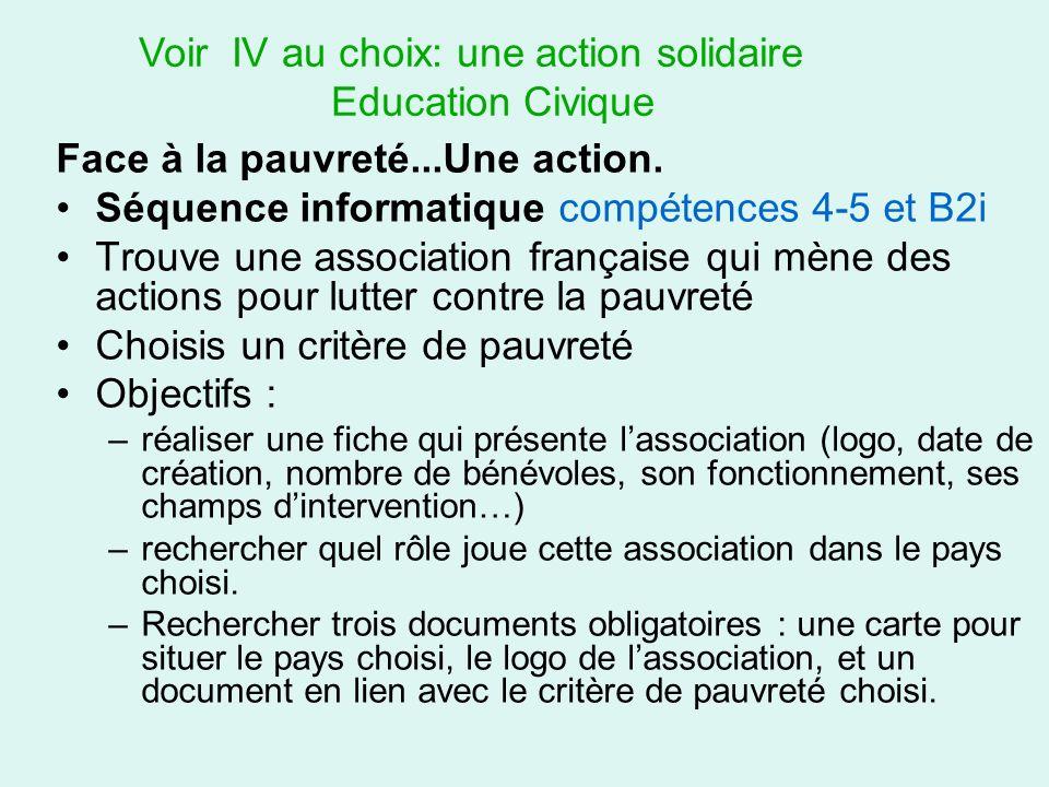 Voir IV au choix: une action solidaire Education Civique