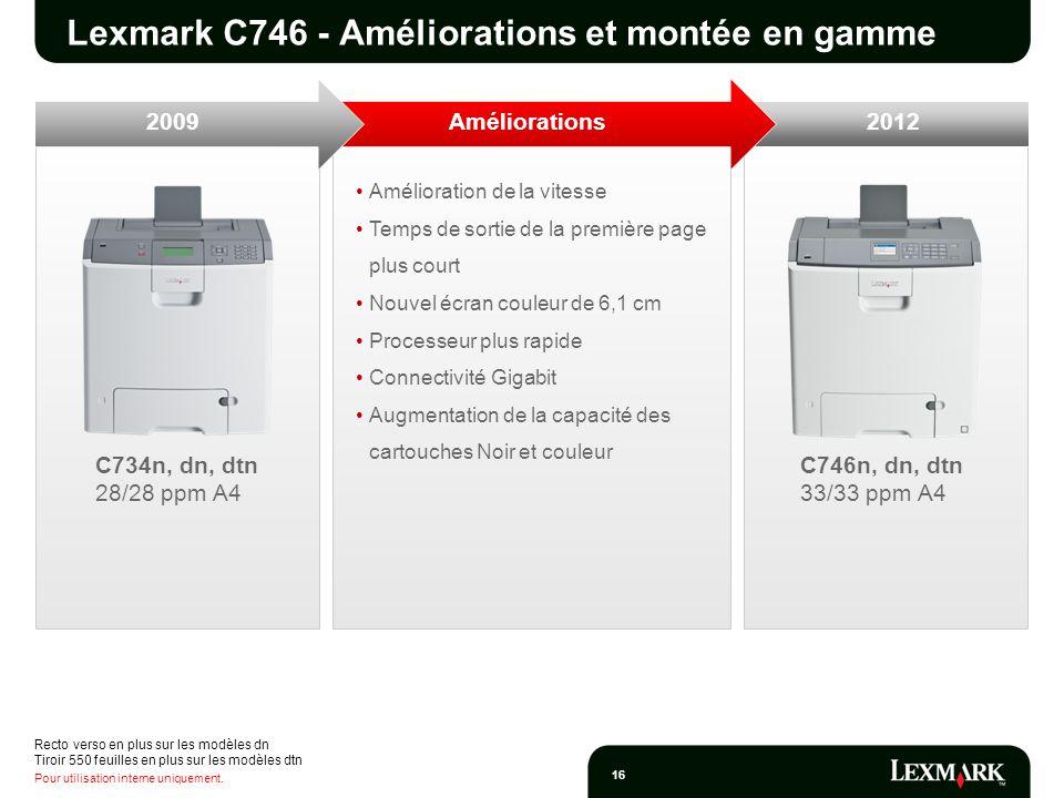 Lexmark C746 - Améliorations et montée en gamme