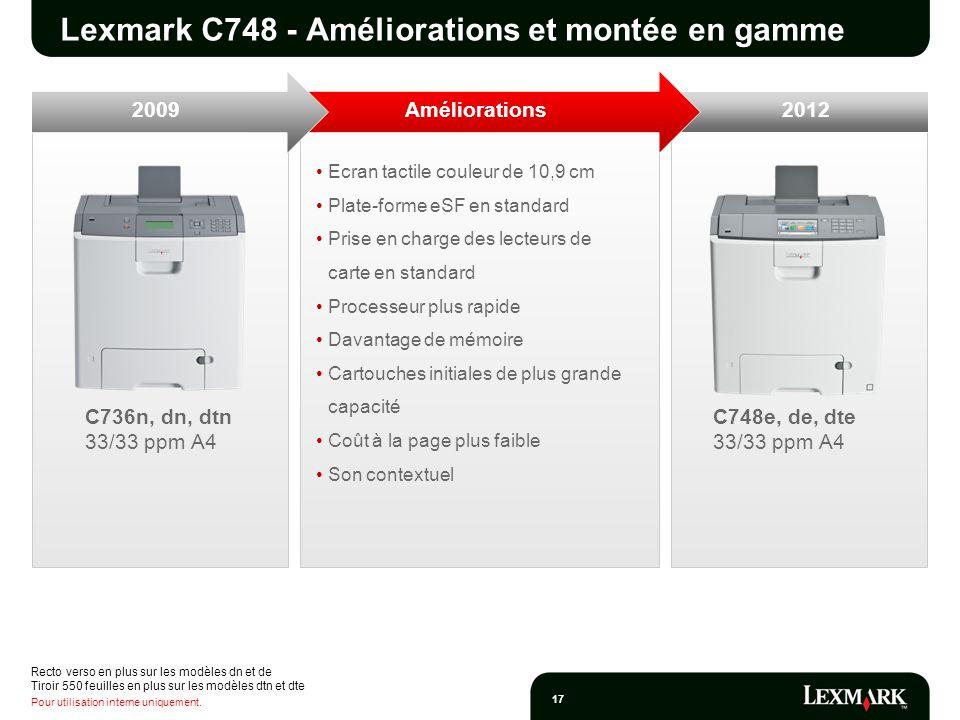 Lexmark C748 - Améliorations et montée en gamme