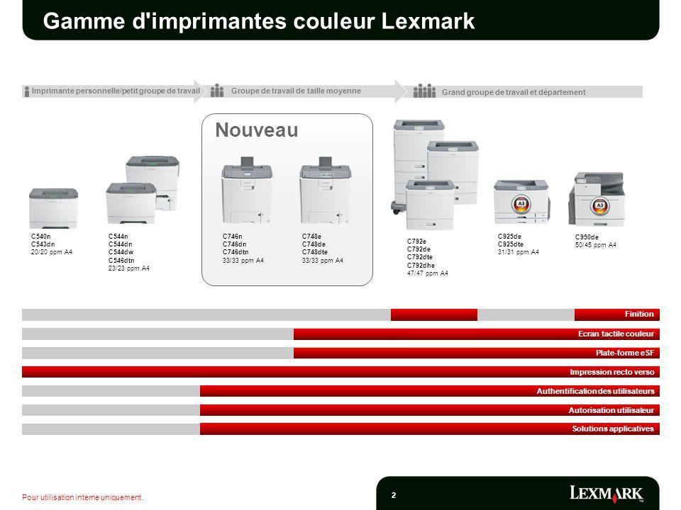 Gamme d imprimantes couleur Lexmark