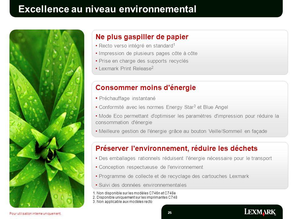 Excellence au niveau environnemental
