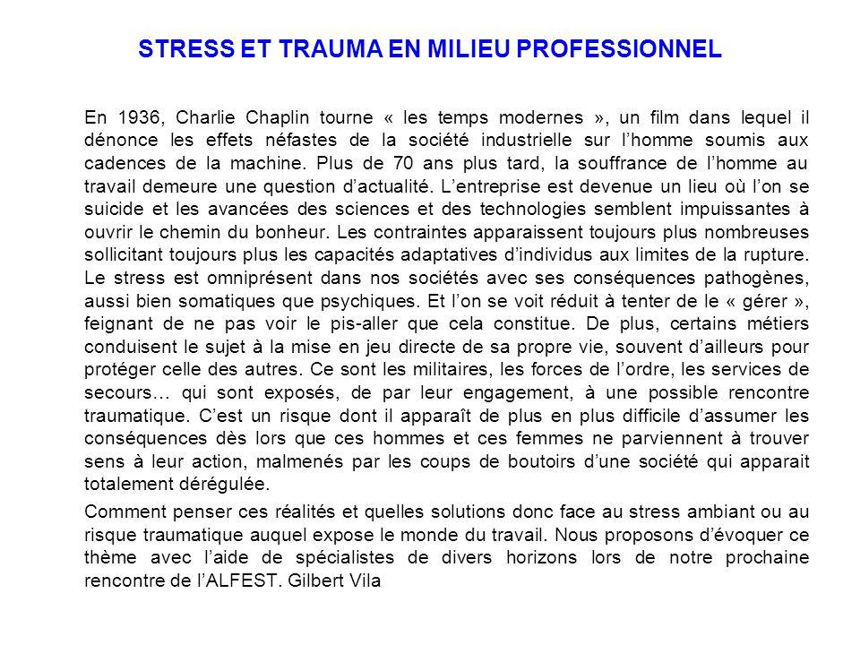 STRESS ET TRAUMA EN MILIEU PROFESSIONNEL