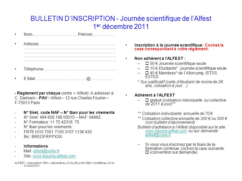 BULLETIN D'INSCRIPTION - Journée scientifique de l'Alfest 1er décembre 2011