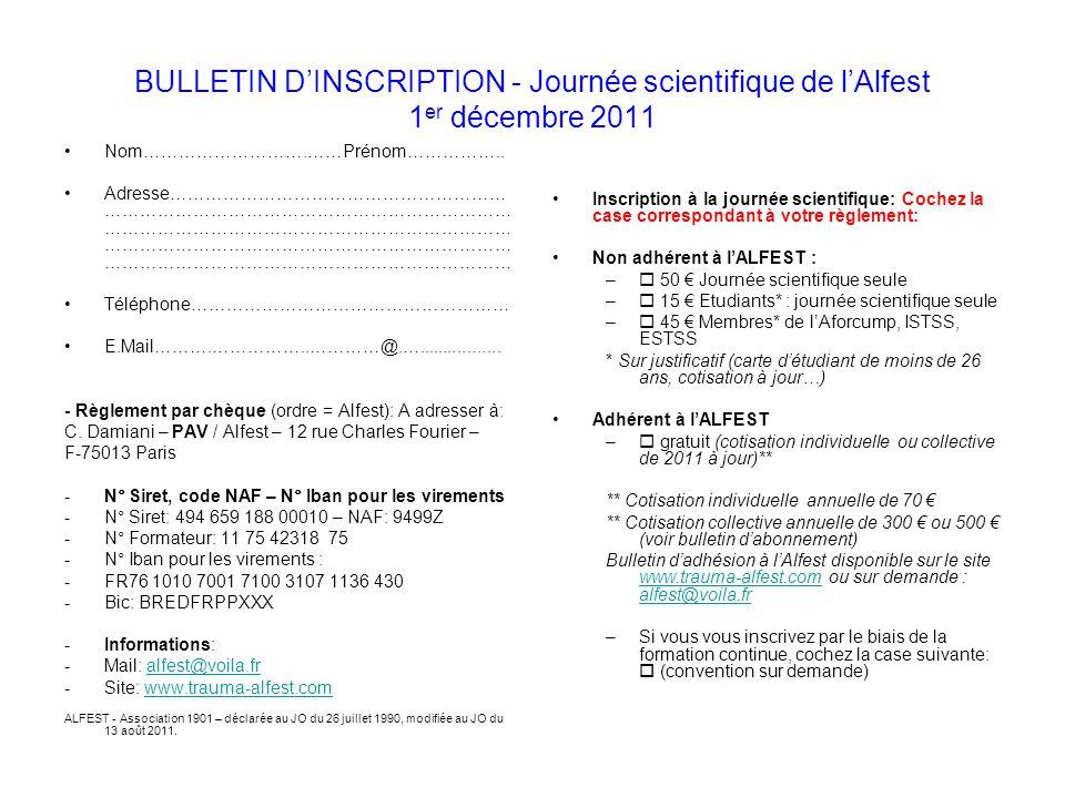 BULLETIN D'INSCRIPTION - Journée scientifique de l'Alfest 1er décembre 2011