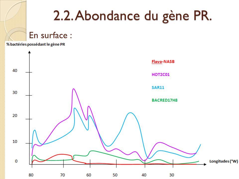 2.2. Abondance du gène PR. En surface :