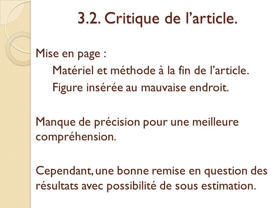 3.2. Critique de l'article.
