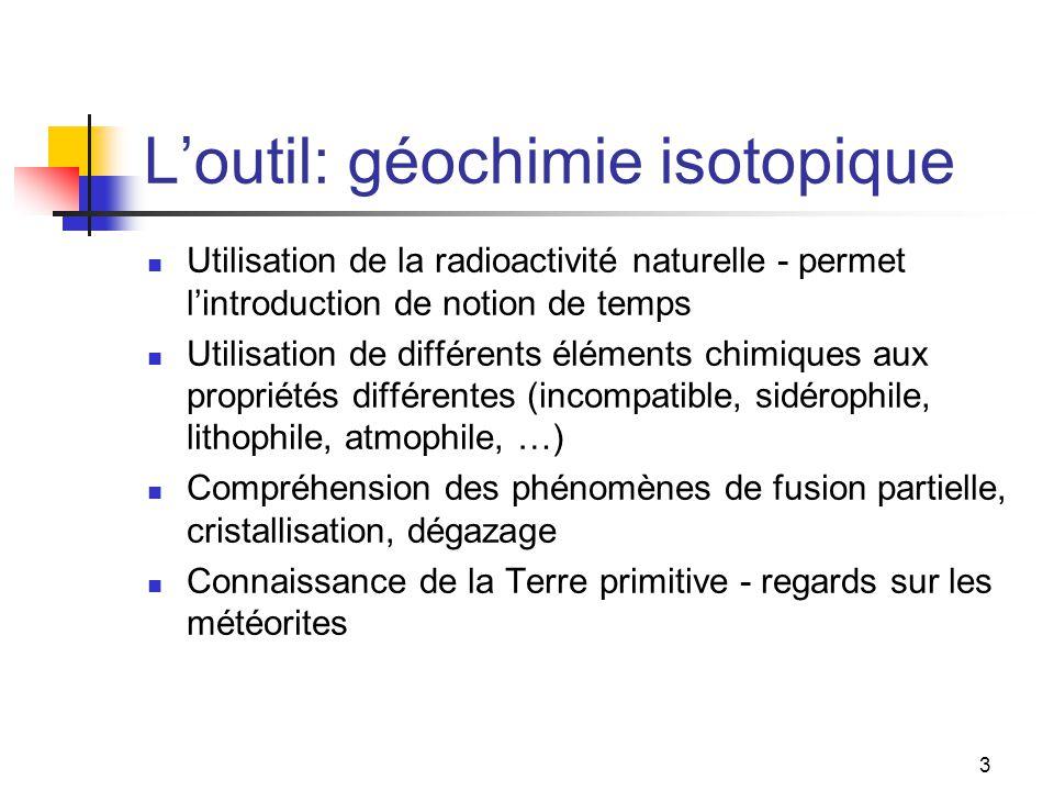 L'outil: géochimie isotopique